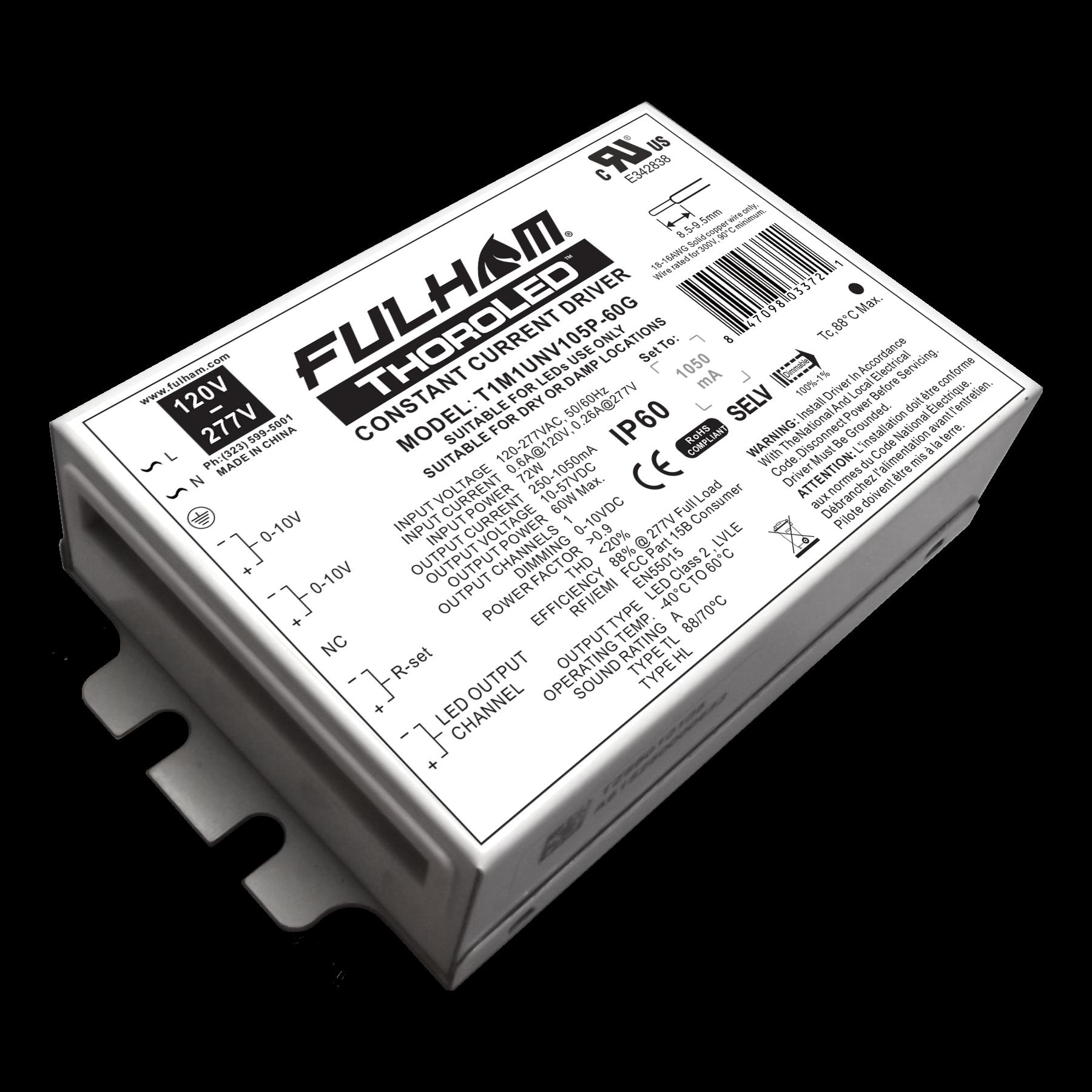 FUL T1M1UNV105P-60G 0-10V Dimming LED Driver 60W UNV PG1050 1CH WorkHorse LED - Single Channel
